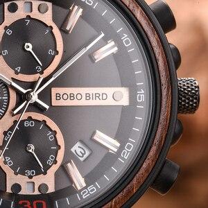 Image 3 - Часы Мужские Gepersonaliseerde Bobo Vogel Hout Horloge Mannen Chronograph Militaire Horloges Luxe Stijlvolle Met Houten Doos Reloj Hombre