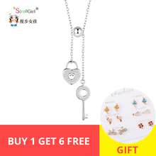 цена на Hot sale 100% 925 Sterling Silver Sweet Key of Heart Lock Link Chain Necklaces & Pendants Women Luxury Jewelry for women