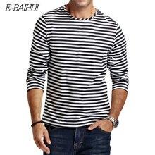 E baihui Новая Осенняя Повседневная полосатая футболка для мужчин