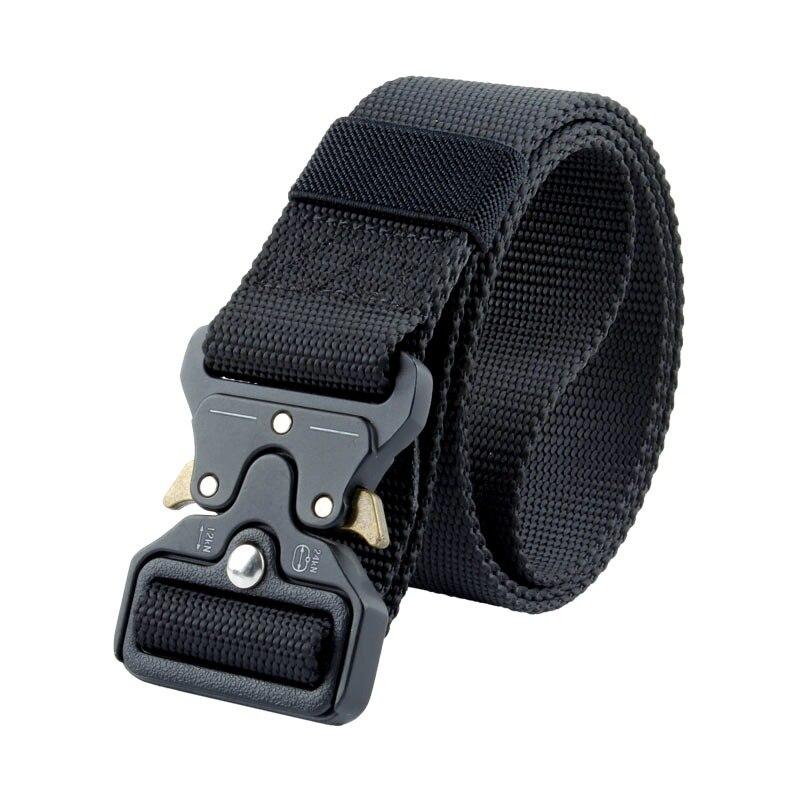 New Mens Tactical Belt Army Belt Men Outdoor Training Belts Black High Quality Easy Unlock Metal Military Buckle Belt Nylon