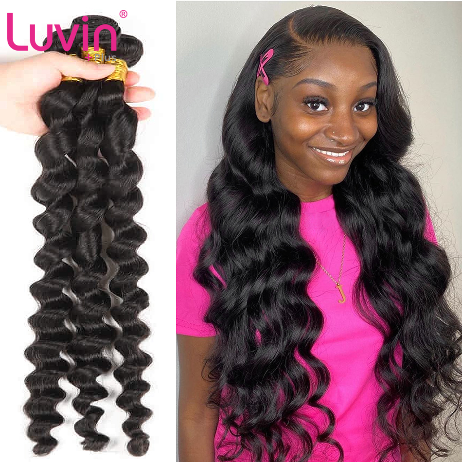 <font><b>Luvin</b></font> <font><b>Hair</b></font> Brazilian Loose Wave Human <font><b>Hair</b></font> Bundles <font><b>Hair</b></font> Loose Wave 8-40 Brazilian Human <font><b>Hair</b></font> Weaves Bundles Loose wave bundle image