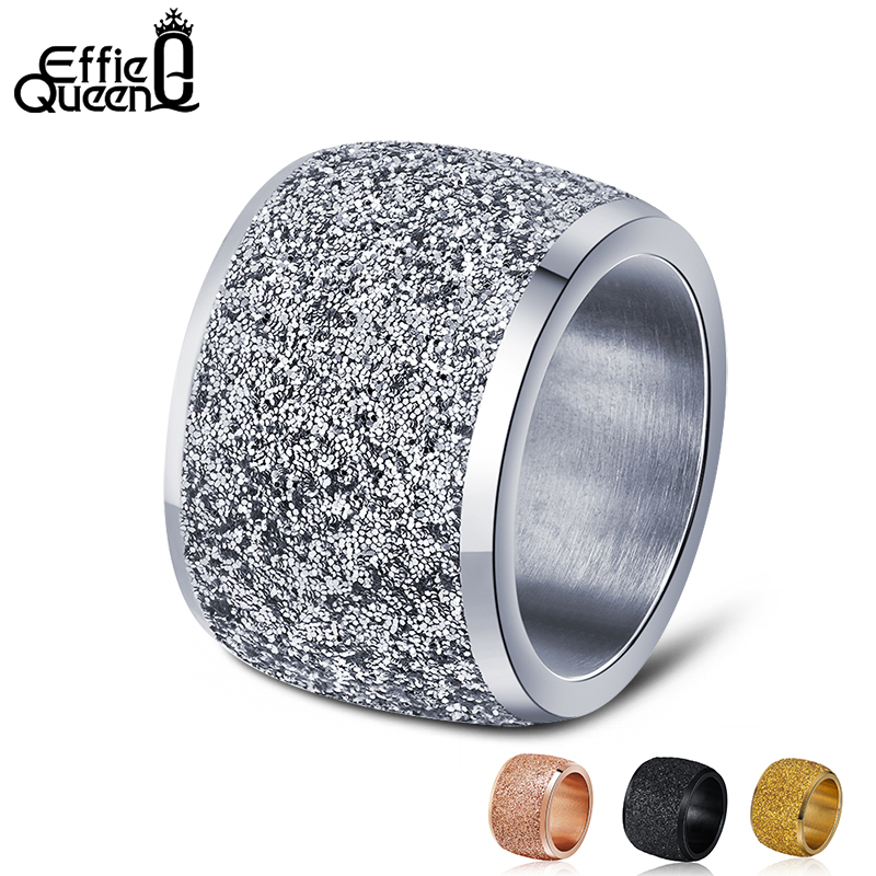 Effie Queen Rose Gold Color Silver Color Stainless Steel Rings 16mm Frosting Surface Big Wedding Band Party Ring for Women IR73