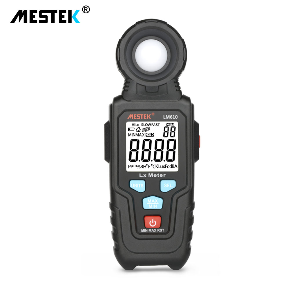 MESTEK LM610 Illuminometer Light Meter 100,000 LUX Digital Luxmeter Luminance Lux Fc Test Max Min Illuminometers Photometer