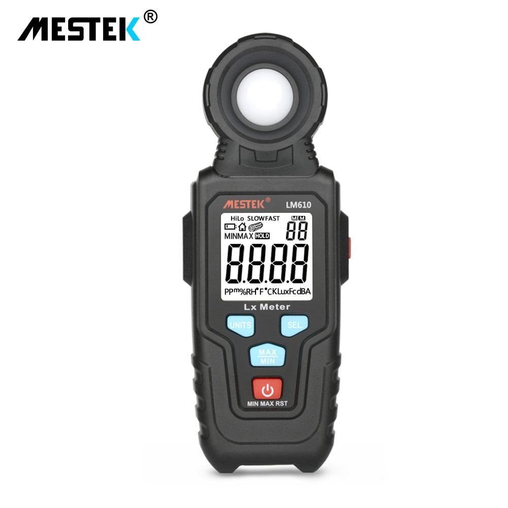 MESTEK LM610 Illuminometer Light Meter 100,000 LUX Digital Luxmeter Luminance Lux Fc Test Max Min Illuminometers Photometer