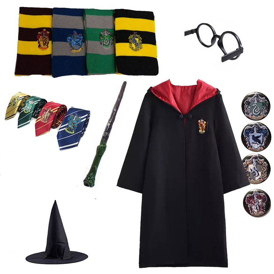 Potter Outfits Magic Robe Cape Suit Hogwarts Uniform Cosplay Ravenclaw Gryffindor Potter Cosplay Costumes Kids Drop Shipping