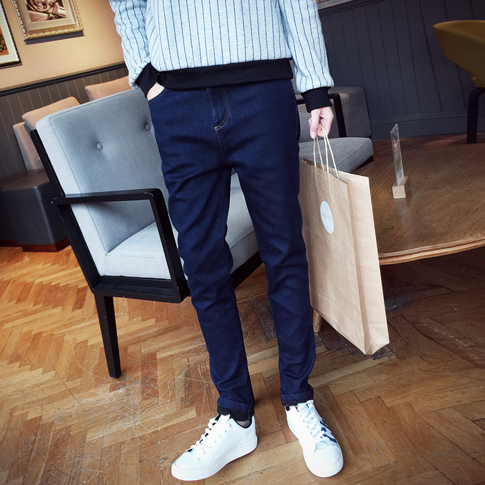Popular Brand Solid Color Men'S Wear Perfect Pants Basic Men's Thin Primary Color Black And Blue Cowboy Trousers Versatile Comfo