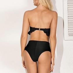 Sexy Push up bikini 2020 potargane stroje kąpielowe kobiety Bandeau czarny kostium kąpielowy damski wysokiej talii kąpiących strój kąpielowy ekstrawaganckie bikini nowy 6
