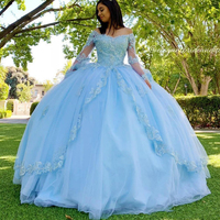 Sky Blue Lace Quinceanera Prom Dresses V neck Long Sleeves Ball Gown Tulle Evening Party Sweet 16 Dress