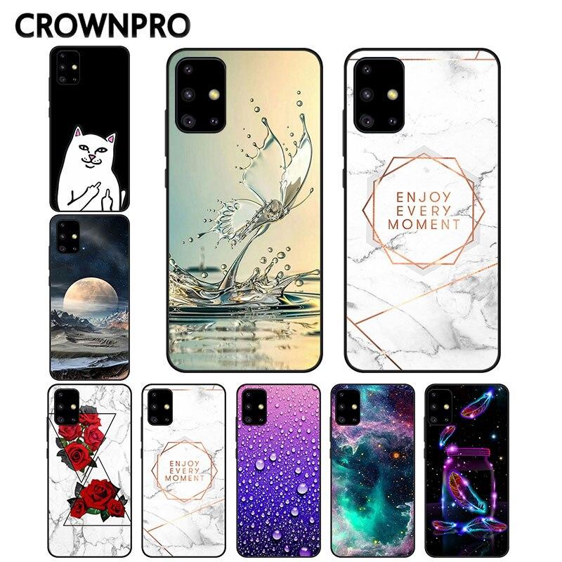 Cute Animals FOR Samsung Galaxy A51 Case Cover Matte Black TPU Silicone Phone Coque FOR Samsung A51 A71 A 51 71 2019 Back Funda
