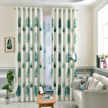 Leaves Birds Printed Drapes Blackout Curtain for Living Room  Bedroom Kitchen Balcony Pastoral Fresh Sheer for Window Decoration