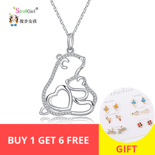 StrollGirl 925 Sterling Silver Pendant  CZ Crystal Cute Mom Bear Baby Embracing Necklace Woman Fashion Jewelry Mother's Day Gift pendant polar bear 2017 new fashion glam 925 silver jewelry thomas style sterling necklace cute gift for ts soul woman