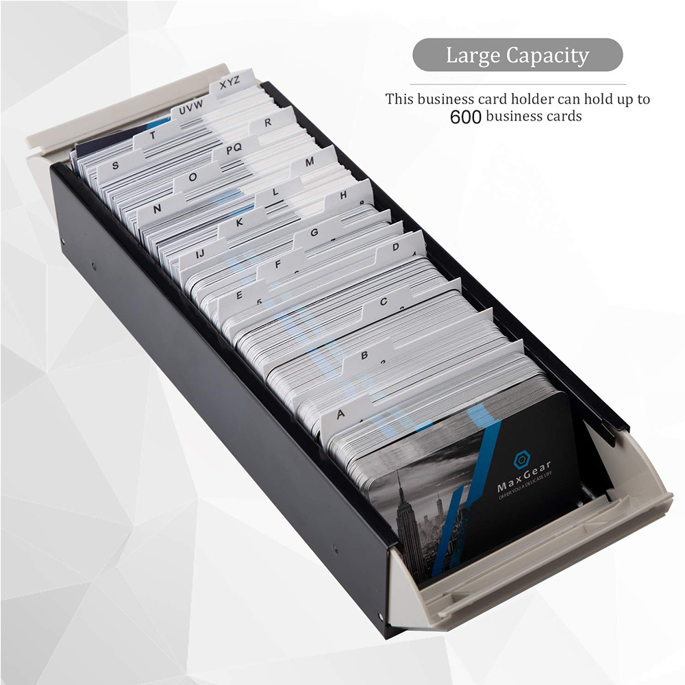 Image 2 - MyLifeUNIT 600 Cards Capacity Business Card Storage Box with A Z Index Business Card File Organizer with Removable Divider-in Card Holder & Note Holder from Office & School Supplies