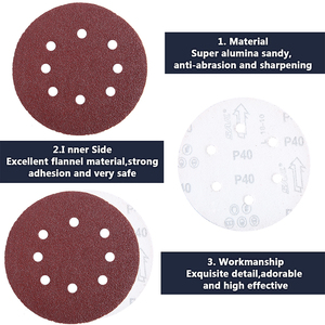 Image 3 - 100pcs 5Inch 125mm Round Sandpaper Eight Hole Disk Sand Sheets Grit 40 600 Hook and Loop Sanding Disc Abrasives for Polish