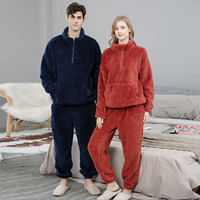 Pijamas gruesas de terciopelo para hombre y mujer, ropa de dormir informal holgada para casa, conjunto de 2 piezas, para Otoño e Invierno