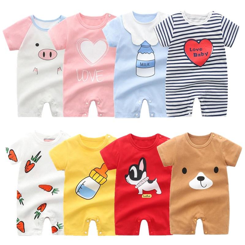 Newborn Baby Clothes Summer 2021 Baby Boys & Girls romper Short Sleeve Home Wear Cotton O-neck Cartoon pajamas Infant Costume
