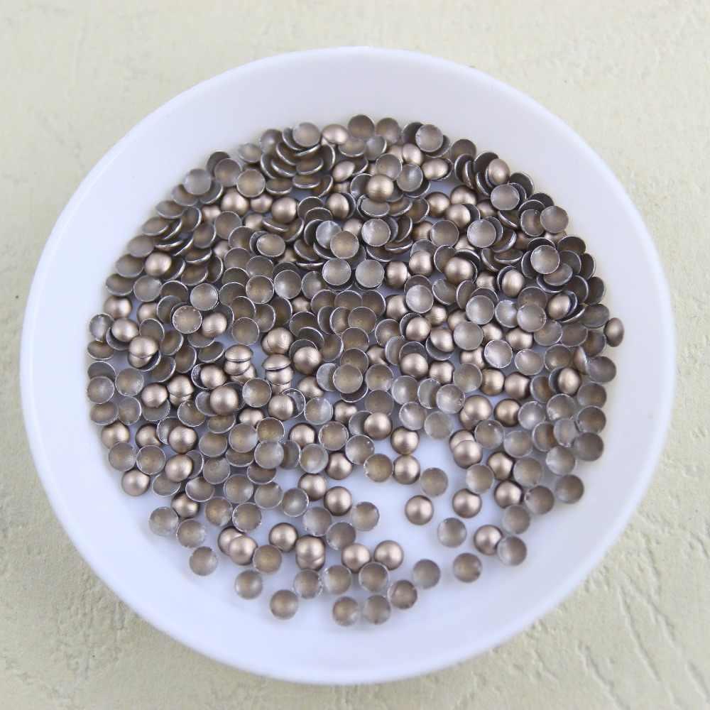 144 Pcs/lot Besi Bulat-On Hotfix Aluminium Metalic dengan Perekat Panas Pengeboran DIY Pakaian/Pakaian Aksesoris
