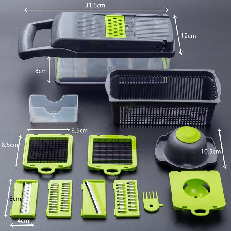 Coupe-légumes multifonctionnel, trancheur de fruits, râpe, broyeur, panier de vidange, trancheurs, Gadgets 8 en 1, accessoires de cuisine 4