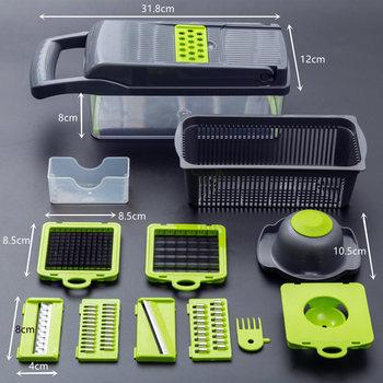 Multifunctional Vegetable Cutter Fruit Slicer Grater Shredders Drain Basket Slicers 8 In 1 Gadgets Kitchen Accessories 4