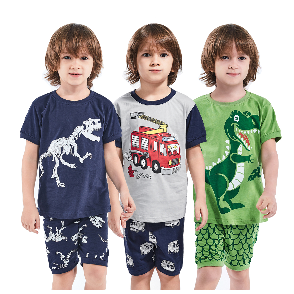 Boy Summer Pajamas Children's Halloween Pirate Sleepwear Set Kids Dinosaur Football Cartoon Nightwear Toddler Soccer Homewear