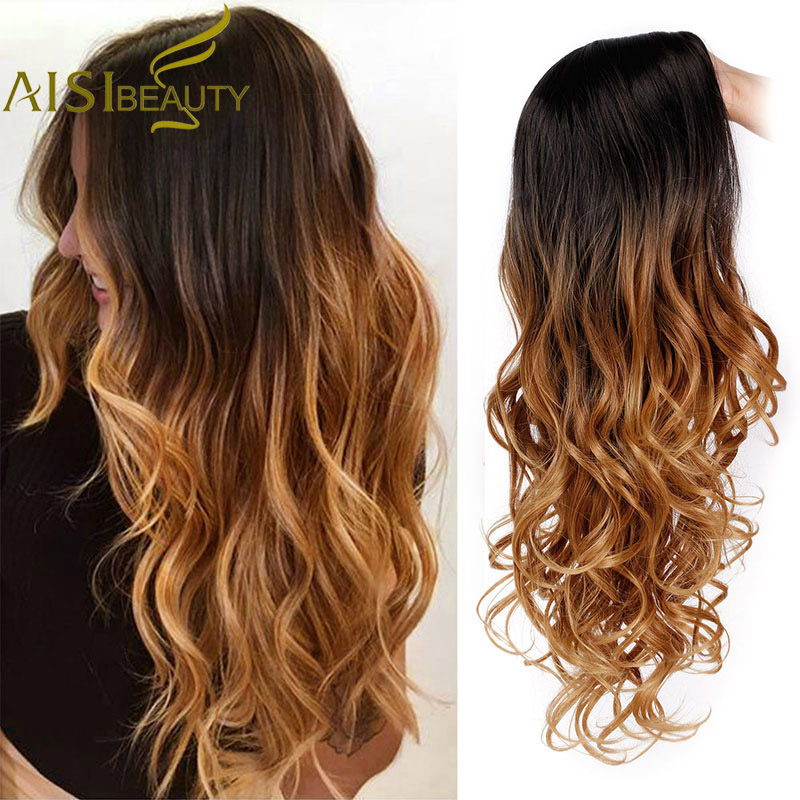 AISI BEAUTY Long Ombre Brown Wavy Wig Blonde Cosplay Synthetic Wigs For Women Glueless Hair High Density Temperature Black Gray