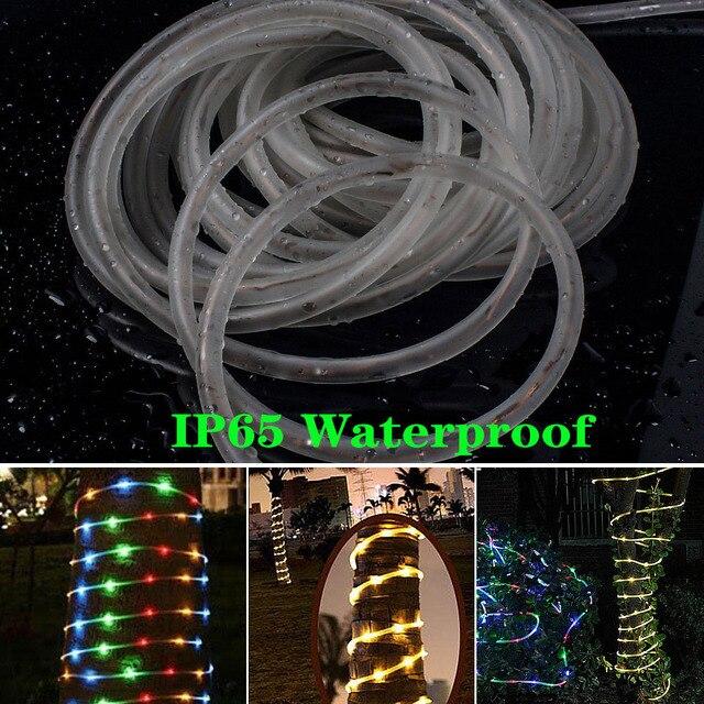 Solaire noël chaîne lumières LED étanche fée lumières en plein air mariage/fête jardin décoration corde Tube 12M LED guirlande lampe