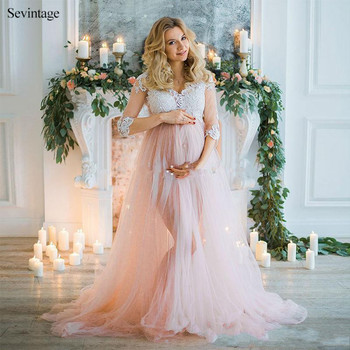 Sevintage 3/4 Sleeves Maternity Long Evening Dresses Lace Empire Pregnant Woman Dress Plus Size Tulle Slit Formal Prom Gowns high quality s101 automatic screw type fuse mini circuit breaker mcb 6 32a 240v 415v