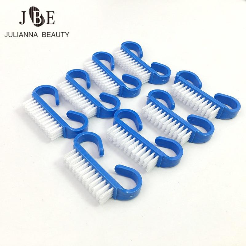 50 pcs profissional azul plastico prego escovas conjunto para limpeza de poeira pequeno angulo unha arte