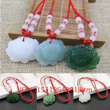 White for Green Charm Pendant Necklace Hand Natural Carved Fashion Women Lotus Gifts Chinese Jewelry Jade Jadeite Amulet Flower image