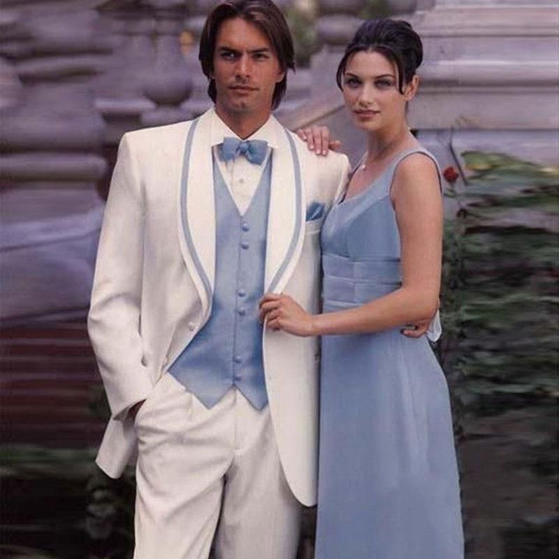 Men Suits For Wedding Wide Shawl Lapel Best Man Blazers Suit Slim Fit Groom Tuxedos 3 Pieces Jackert Pants Vest Ternos