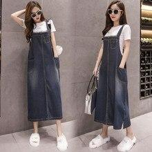 все цены на 2019 Summer Women Denim Dress Plus Size 5XL Jeans Dress Loose Strap Overall Dress Female онлайн