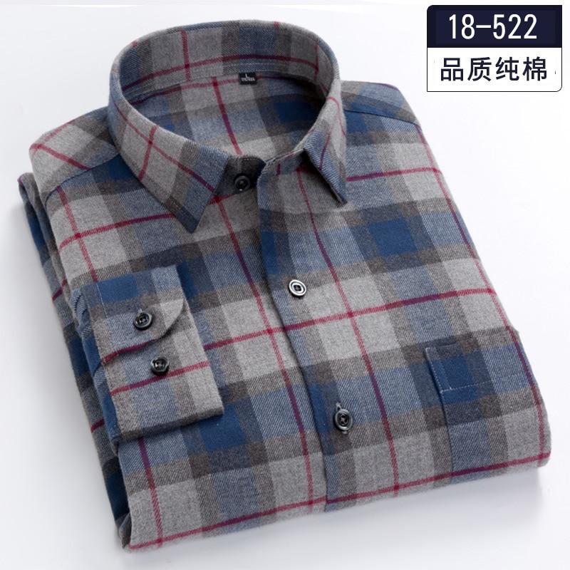 Plus-size 5XL 6XL 7XL 8XL 100% Cotton Plaid Fannel Thick Long Sleeve Men Shirt Fat Guy Fashion Autumn/Winter Clothes 120kg 130kg