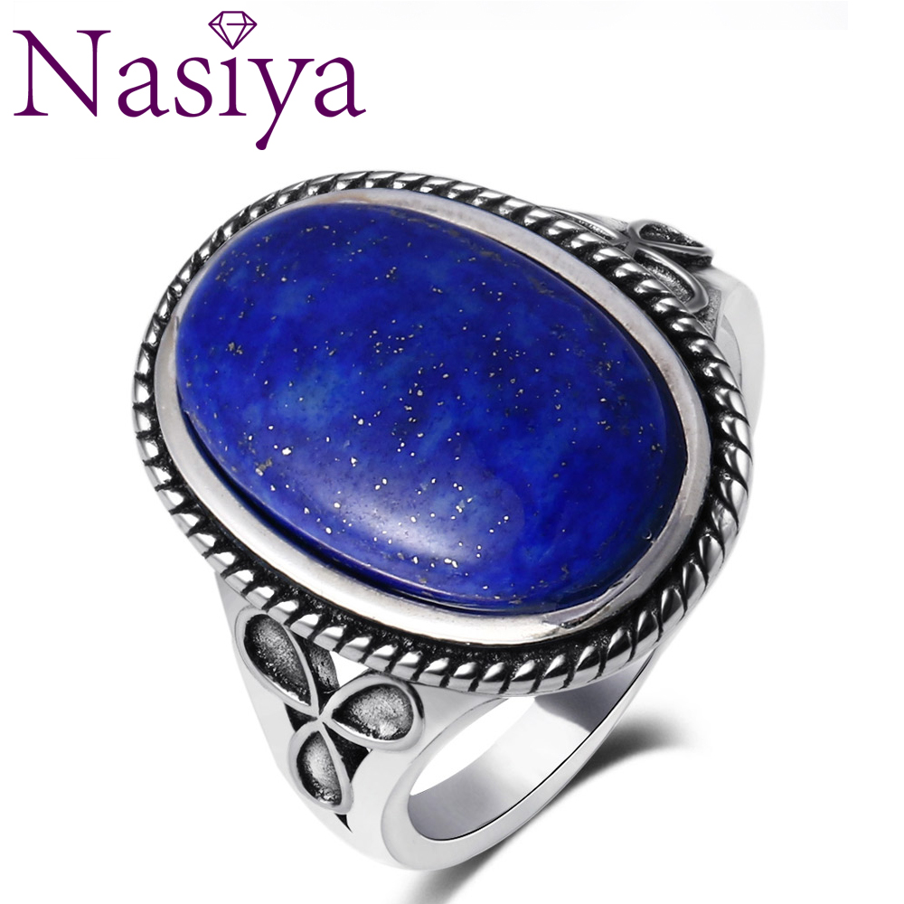 Oval Large Natural Lapis Various Gemstone Rings 925 Sterling Silver Jewelry For Women Gift Engagement Rings Dropping