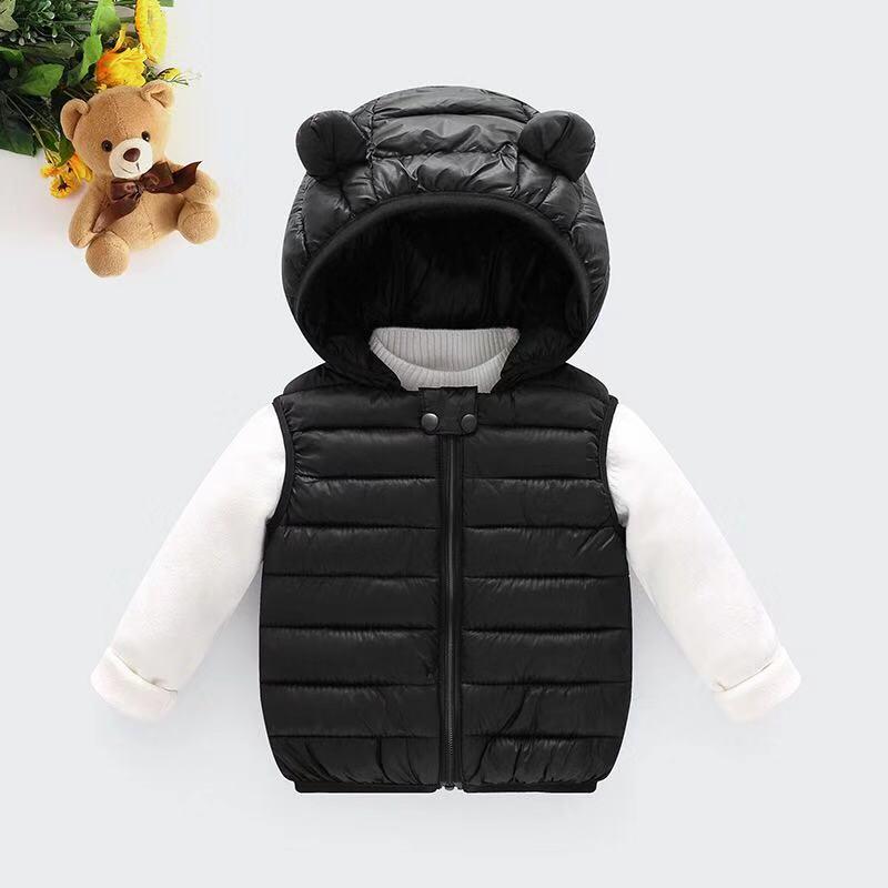 Одежда для маленьких девочек; зимнее Детское пальто; светильник с капюшоном; однотонная хлопковая верхняя одежда; жилет для малышей; одежда для маленьких мальчиков - Цвет: Черный