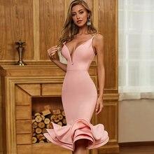Женское облегающее платье adyce розовое на бретельках с v образным