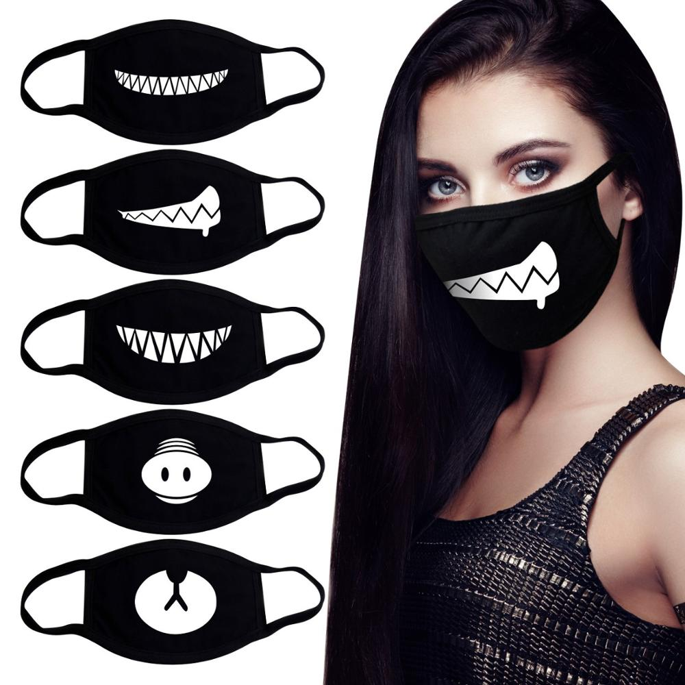 Korean Funny Expression Smile Anti Dust Mouth Face Mask For Mouth Black Kpop Unisex Kawaii Face Mouth Muffle Mask Cotton Fashion