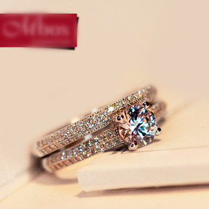 Luxury Female Crystal Bridal Ring Set Fashion Silver Color Wedding Band Jewelry Promise Love Engagement Rings For Women
