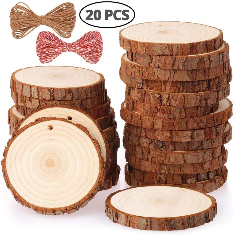 Натуральные Деревянные ломтики Ремесло Деревянные двери, комплект с отверстием деревянные картины кусочки дерева для декоративно-приклад...