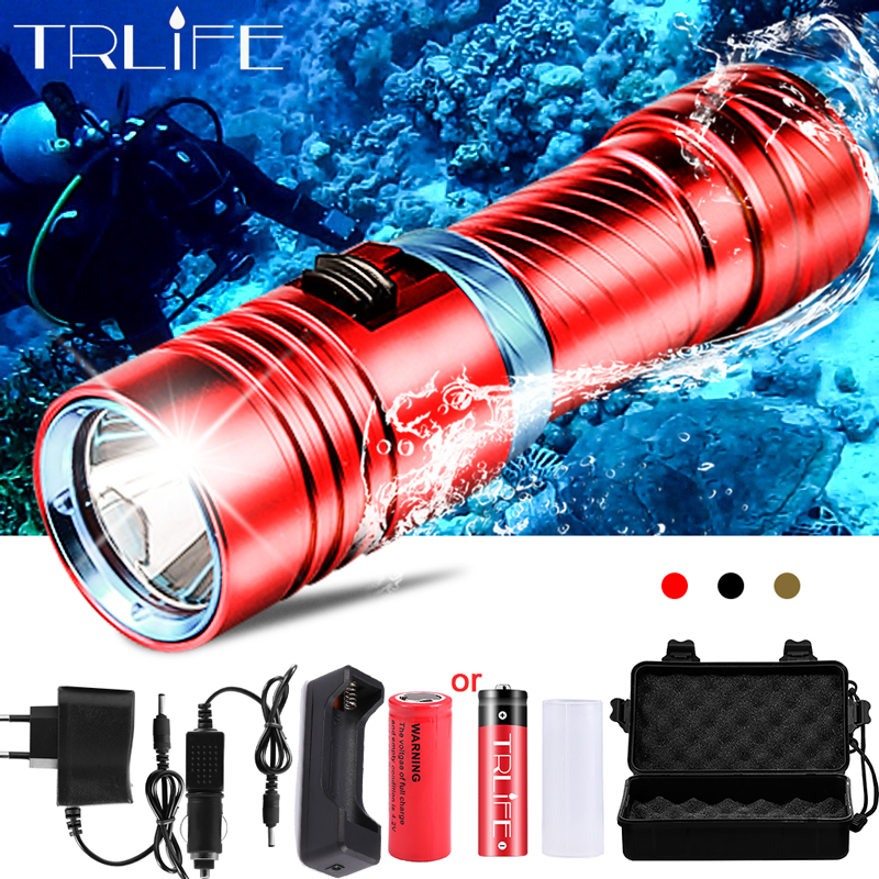 Powerful L2 Diving LED Flashlight Dive 100M Waterproof Underwater Camping Lanterna Torch Lamp Stepless Dimming By 18650 26650