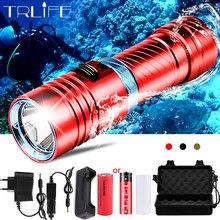 Poderoso l2 mergulho led lanterna mergulho 200m à prova dwaterproof água subaquática acampamento tocha lâmpada stepless escurecimento por 18650 26650