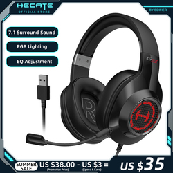 HECATE G2II Gaming Headset Gamer Headphones Virtual 7.1 Surround Sound RGB Lighting Noise Reduction MIC USB for PC/PS4/PS5