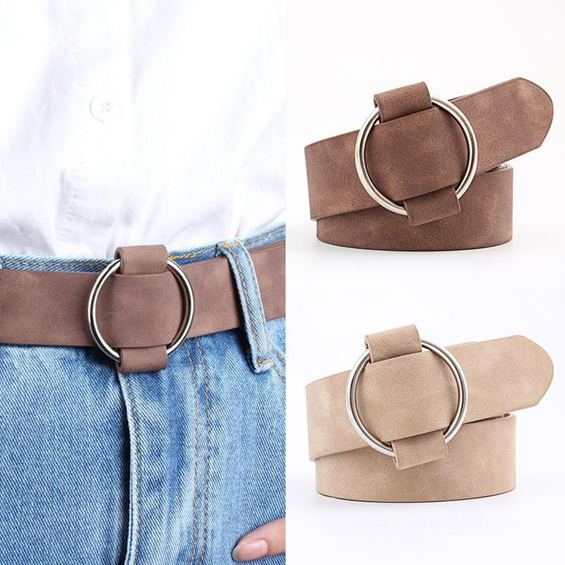PU Leather Belt Wide Belt Fashion Round Buckle Waistband All- Dress Jeans Decorative G Belt Elastic Leather Strap Casual Belts