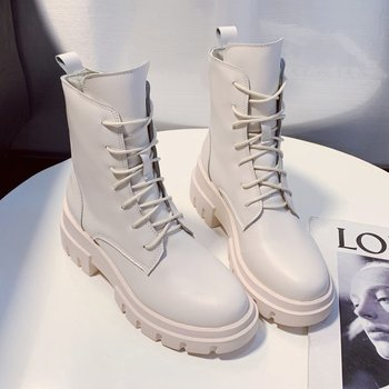 2020 New White Leather Boots Western Women Platform Boots Female Autumn gothic shoes Punk Mid Calf Boots for Women autumn winter new suede leather female beautiful fringe boots sexy high heel long tassel mid calf boots tide women mid calf boot