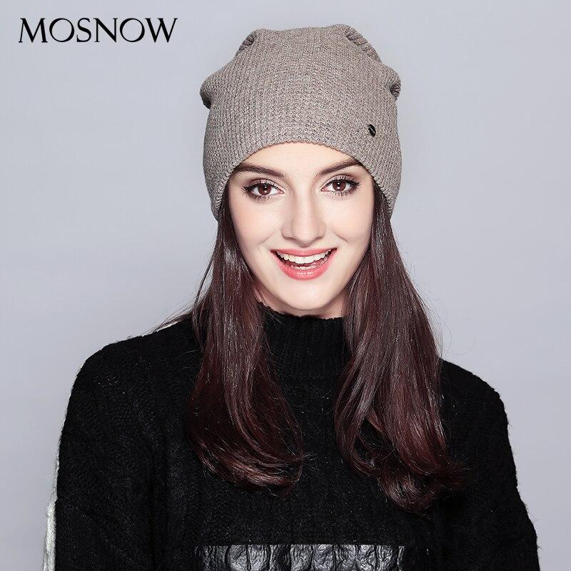 Gorro quente 2019 moda outono chapéus para as mulheres inverno marca nova malha malha de algodão chapéu feminino skullies gorro senhora