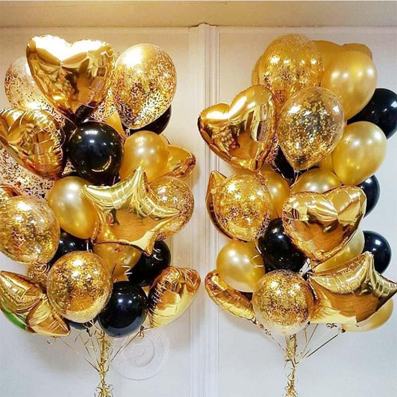 Шары с золотыми конфетти смешанный 18-дюймовый шарик из фольги в форме звезды, сердца, черного и золотого цвета, латексный воздушный шар, свад...