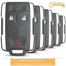 KEYECU 5 шт. дистанционный Автомобильный ключ без ключа для Chevrolet Silverado Colorado Tahoe Suburban, FOB 3 кнопки-315 МГц-M3N-32337100
