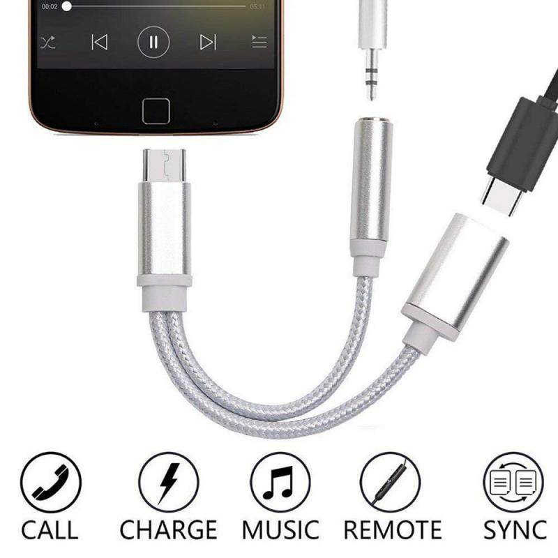 Type C To 3.5mm Aux Audio Splitter Earphones Jack Adapter Connector Audio Charging Charger Cable For Huawei P30 P20 Mate 30 Pro