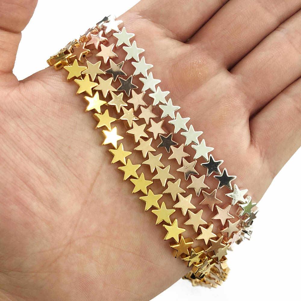 Jhnby 4/6/8 Mm Emas perak Bentuk Bintang Bijih Besi Alami Batu Spacer Longgar Beads untuk Perhiasan Membuat 15 ''DIY Gelang Kalung