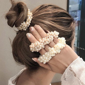 Fashion Rope Woman Pearl Hair Ties Beads Girls Scrunchies Rubber Bands Ponytail Holders Hair Accessories Elastic Hair Band 14 colors woman elegant pearl hair ties beads girls scrunchies rubber bands ponytail holders hair accessories elastic hair band