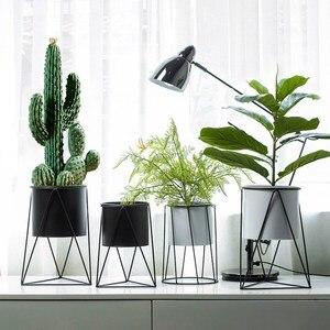 İskandinav tarzı basit yaratıcı ferforje demir çiçek saksı standı vazo Minimalist ev bahçe etli saksı standı vazo raf