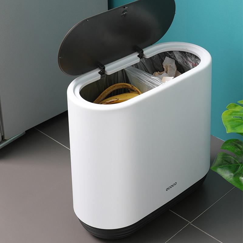 Trash Can New Anti-fallin Zero Waste Bin  For The Kitchen Bathroom Garbag Classification Narrow Bucket Recycle Dustbin